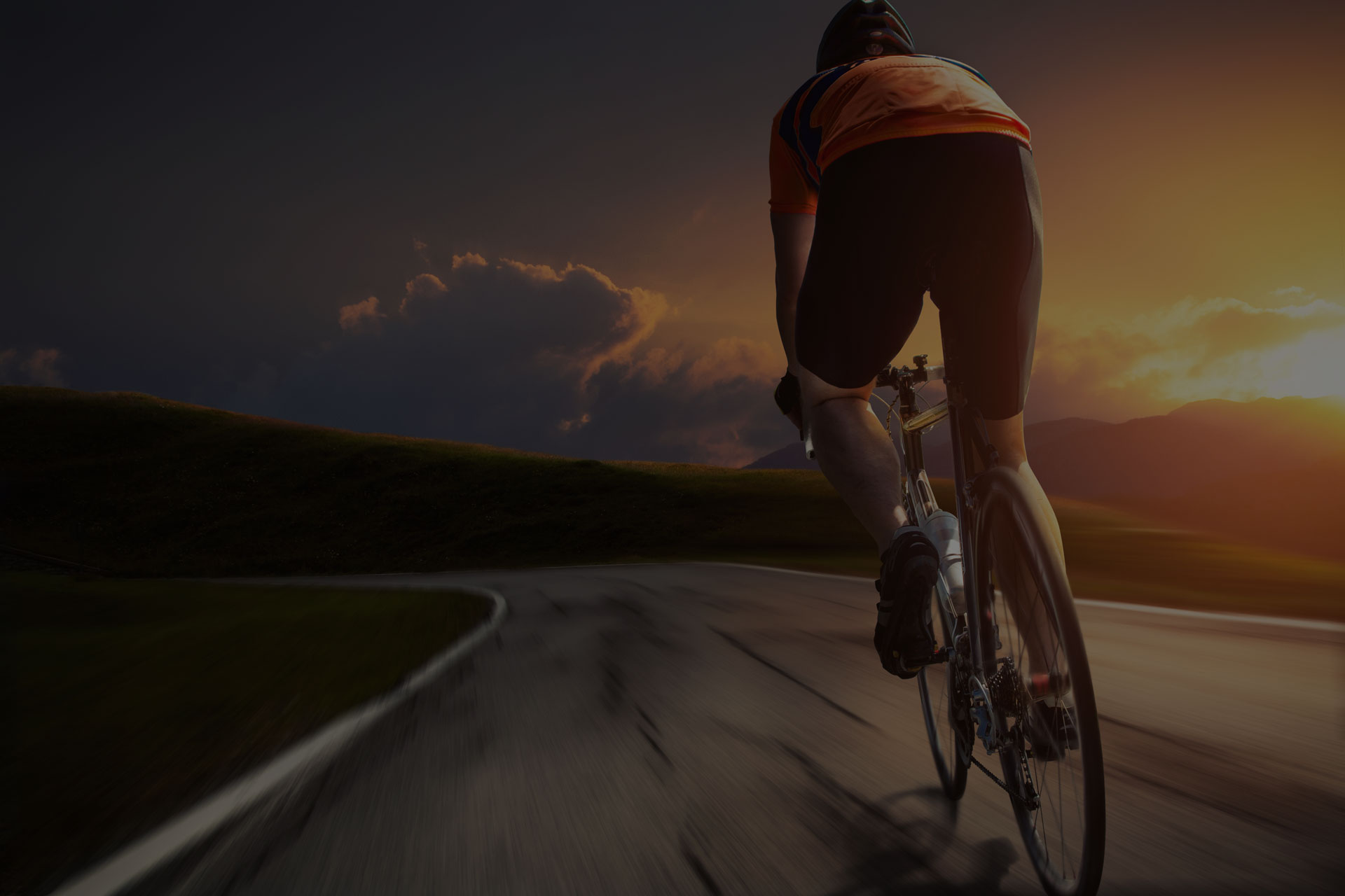 cyclist with the sunset view